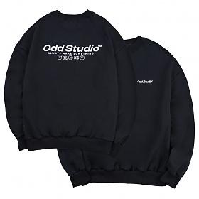 오드스튜디오 베이직 맨투맨 티셔츠 - BLACK
