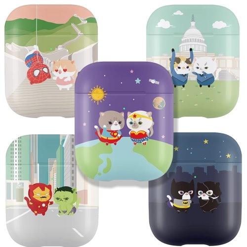 [뮤즈캔] - MUZCAN 고양이 히어로 에어팟 2 케이스 3D 곡면전사 하드 무선 충전 에어팟2 블루투스 이어폰 아이폰