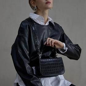 [세미코드] SEMICODE  -lode bag - black croc 토트백 숄더백 여성가방