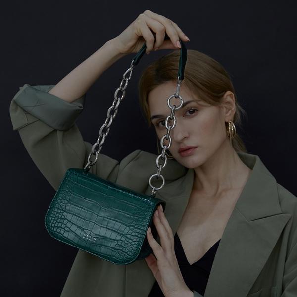 [세미코드] SEMICODE  -lode bag - dark green croc 토트백 숄더백