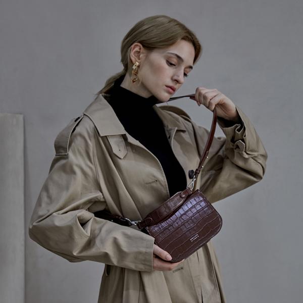 [세미코드] SEMICODE  -lode bag - dark brown croc 토트백 숄더백