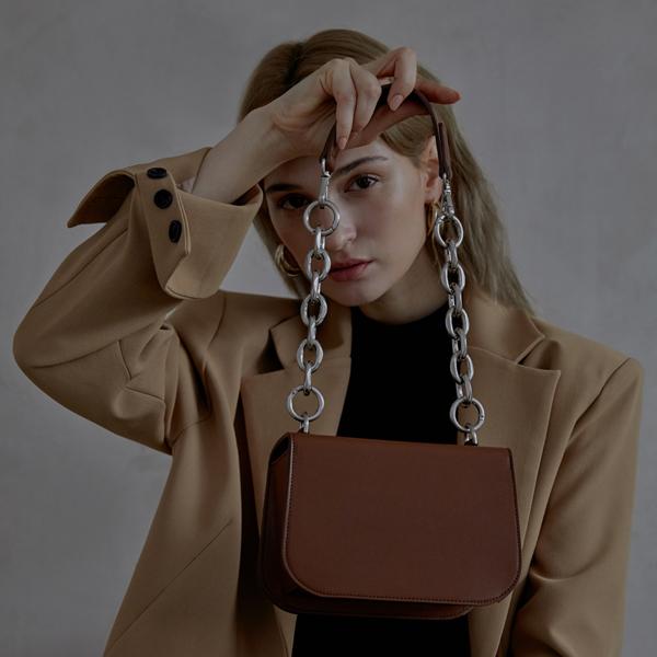 [세미코드] SEMICODE  -lode bag - brown plain 토트백 숄더백