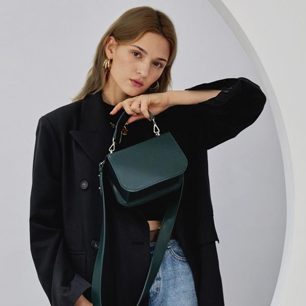 [세미코드] SEMICODE  - lode bag - dark green plain 토트백 숄더백 여성가방