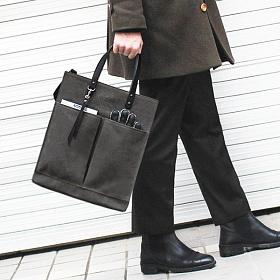 [모노노] MONONO - Leather Brick Bag_Wax Canvas Charcoal (레더 브릭백) (왁스캔버스) 토트백 숄더백 크로스백