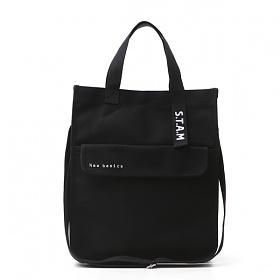 [스탐]STAM 캔버스 스퀘어 로고 토트백 Square Logo Totebag 블랙(Black) 에코백 크로스백 숄더백