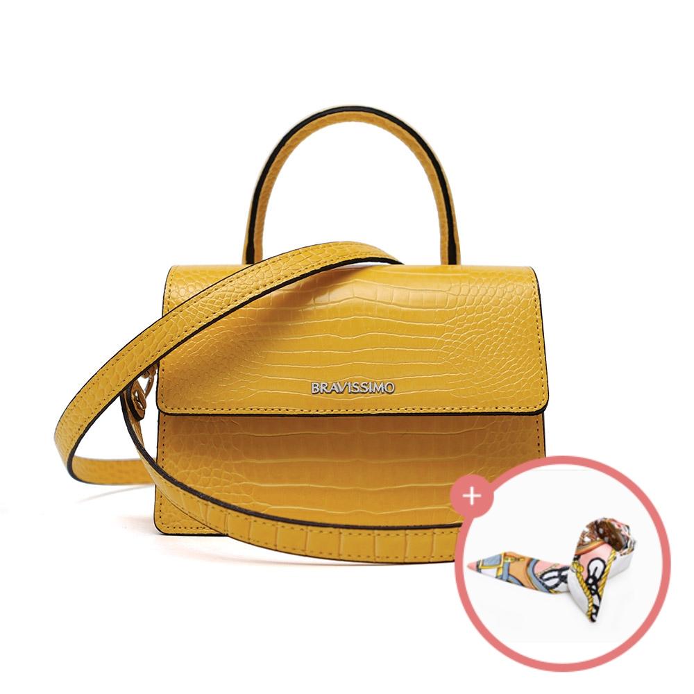 (★스카프증정)[브라비시모]델리아(Delia) - Yellow 토트백 크로스백 숄더백 여성가방