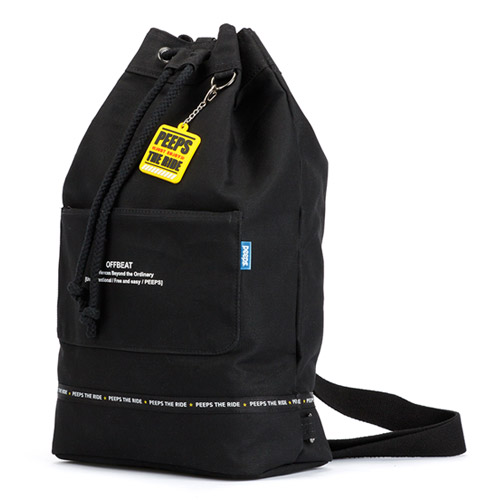 핍스 PEEPS offbeat canvas bucket bag(black)