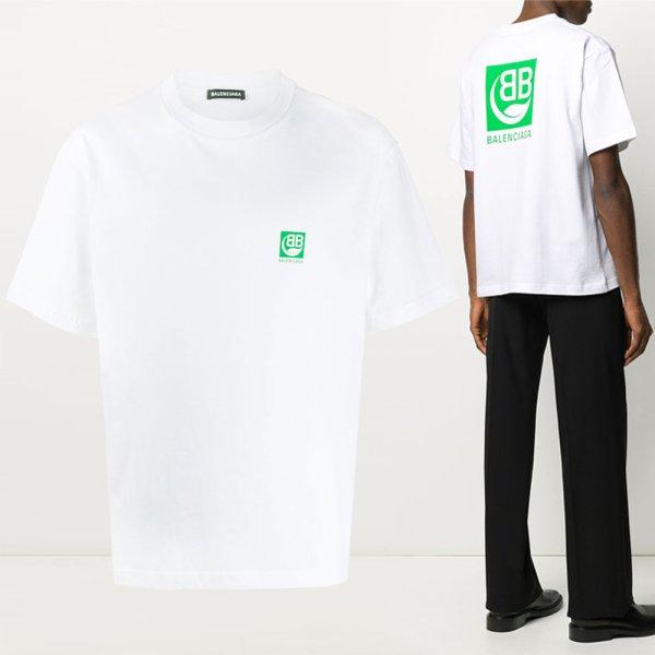 20SS BB 그린 로고 티셔츠 화이트 594579 THV63 9000