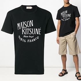 19S/S 레터링 프린트 티셔츠 블랙 AM00100KJ0008 BK