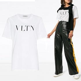 18FW 여성 VLTN 로고 프린트 티셔츠 QB3MG07D 3V6 A01
