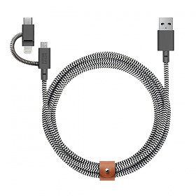 네이티브유니온 프리미엄 충전 케블라 케이블 3in1 지브라 2M USB A - 라이트닝+C+Micro USB_BELT-ULC-ZEB-NP