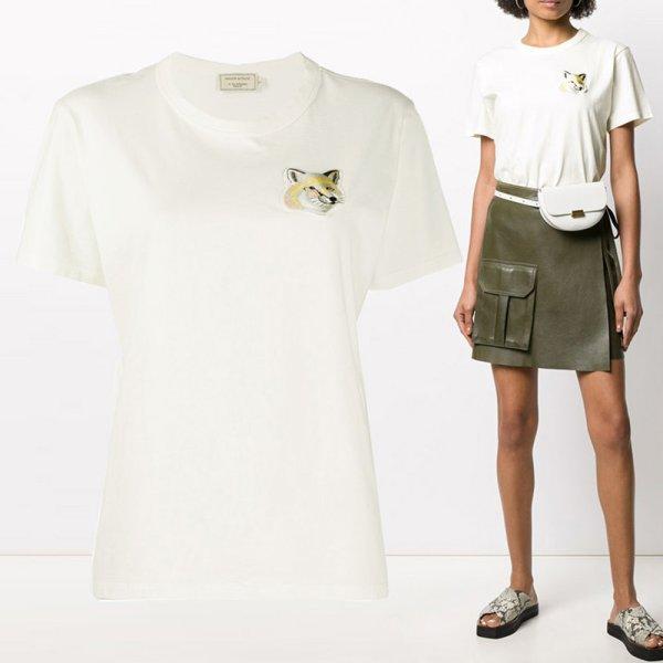 20SS 여성 폭스 헤드 자수 티셔츠 EW00140KJ0008 OW