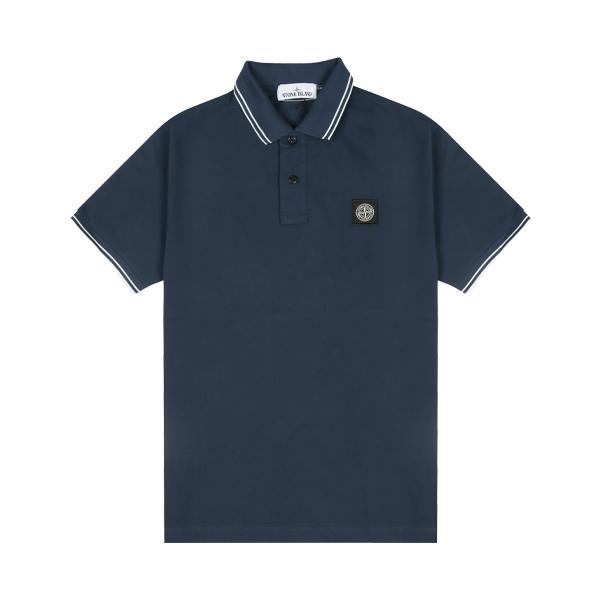 [스톤아일랜드] Stone Island - 20SS 패치 로고 투라인 PK티 카라티 티셔츠 (블루마린) 101522S18 V0028