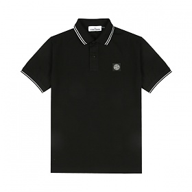 [스톤아일랜드] Stone Island - 20SS 패치 로고 투라인 PK티 카라티 티셔츠 (블랙) 101522S18 V0029