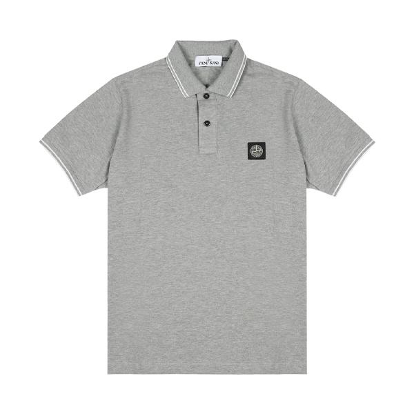 [스톤아일랜드] Stone Island - 20SS 패치 로고 투라인 PK티 카라티 티셔츠 (그레이) 101522S18 V0M64