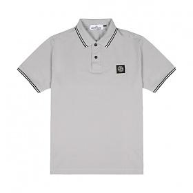 [스톤아일랜드] Stone Island - 20SS 패치 로고 투라인 PK티 카라티 티셔츠 (블루 그레이) 101522S18 V1064