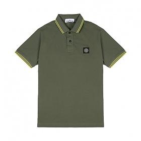 [스톤아일랜드] Stone Island - 20SS 패치 로고 투라인 PK티 카라티 티셔츠 (카키/옐로우) 101522S18 V2058