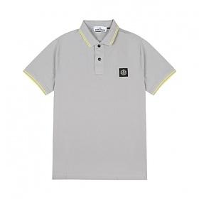 [스톤아일랜드] Stone Island - 20SS 패치 로고 투라인 PK티 카라티 티셔츠 (그레이/옐로우) 101522S18 V2064