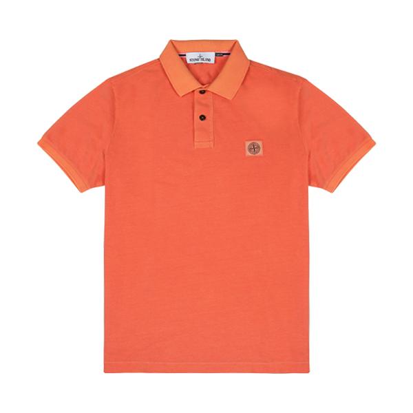 [스톤아일랜드] Stone Island - 20SS 피그먼트 이펙트 PK티 카라티 티셔츠 (오렌지) 721522S67 V0037