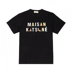 [메종키츠네] MAISON KITSUNE -  요가 폭스 로고 반팔 티셔츠 블랙 EU00152KJ0008-BK