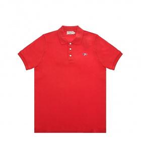 [메종키츠네]20SS AM00200KJ7002 RE 레드 남성 트리칼라 폭스 패치 폴로 반팔 티셔츠