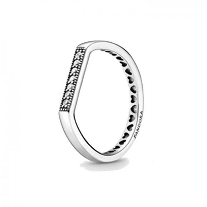 [해외]판도라 로고 바 스태킹 스파클링 반지 199041C01