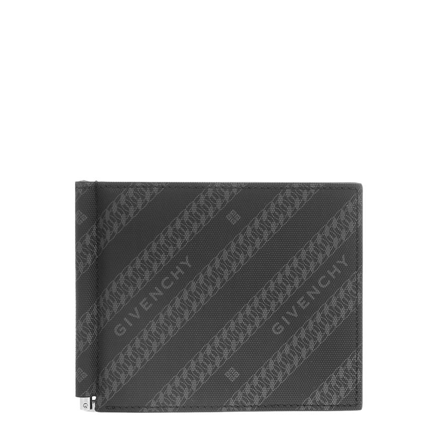 [지방시]20FW BK6028K0Z0 002 블랙 그레이 체인 코팅 로고 캔버스 머니클립
