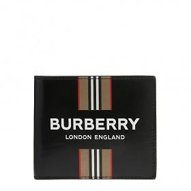 [버버리]20FW 8030525 블랙 로고 아이콘 스트라이프 캔버스 반지갑