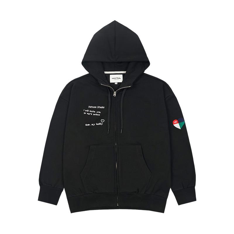 베테제 - Rainbow Hood Zipup (black) 레인보우 후드 집업 (블랙)
