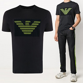 20FW 플록 로고 티셔츠 블랙 3H1TB7 1J30Z 0004