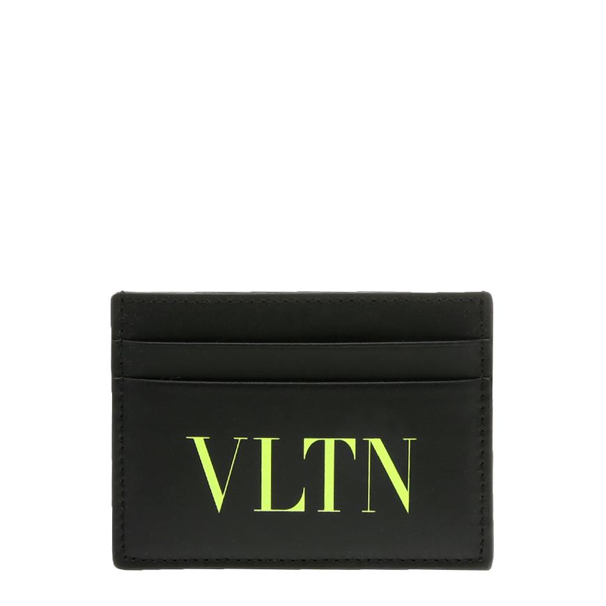 [발렌티노]20FW UY2P0448 JEY HW8 블랙 VLTN 형광 옐로 로고 프린트 카드 케이스
