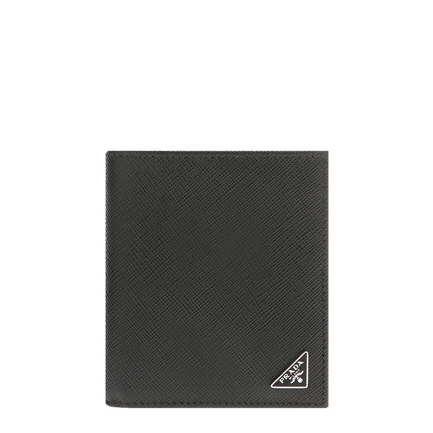 [프라다]20FW 2MO004 QHH F0002 블랙 사피아노 삼각로고 반지갑