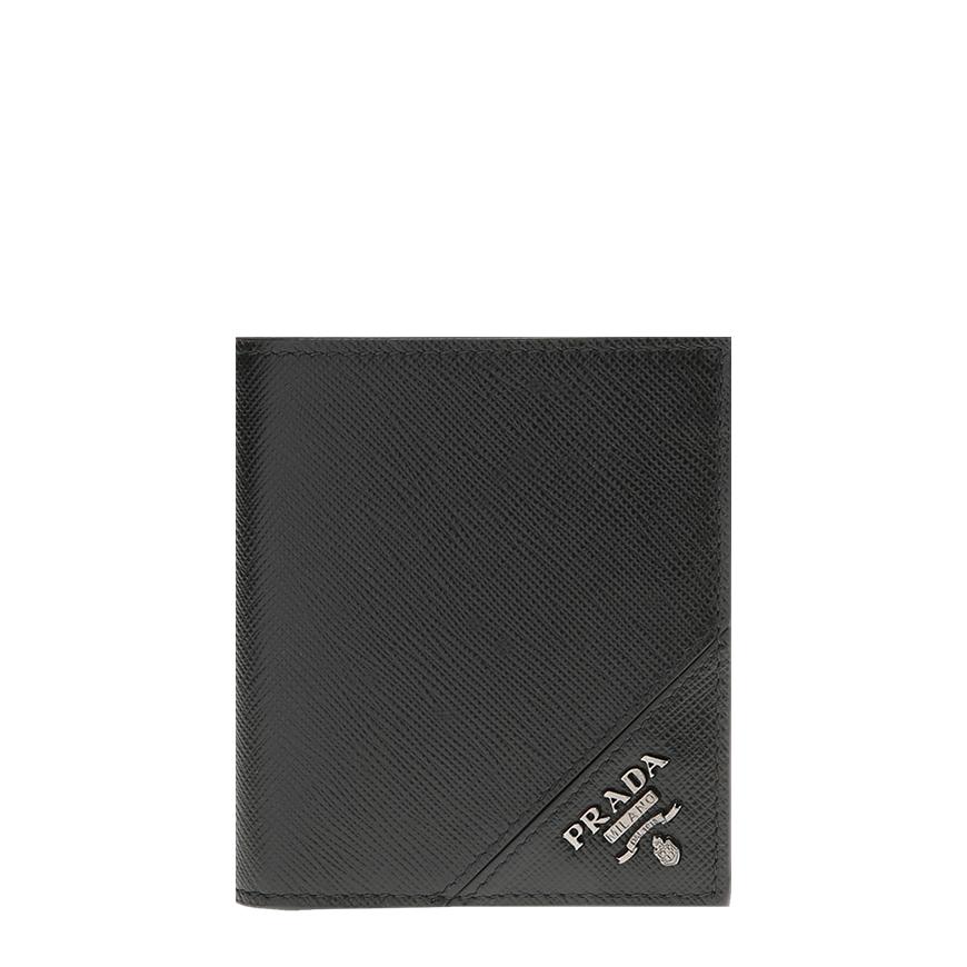 [프라다]20FW 2MO004 QME F0002 블랙 사피아노 엣지로고 반지갑