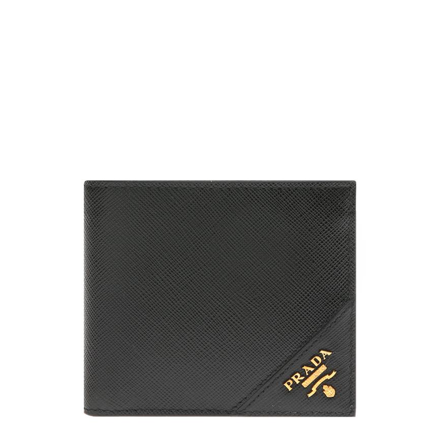 [프라다]20FW 2MO513 QME F0632 블랙 사피아노 금장 엣지로고 반지갑
