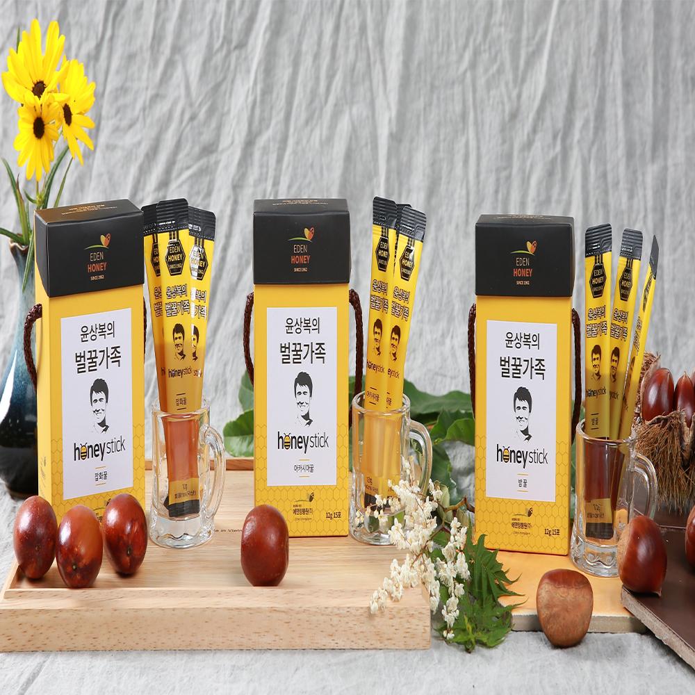 에덴양봉원 윤상복의 벌꿀가족 스틱꿀 3종 12gx15개