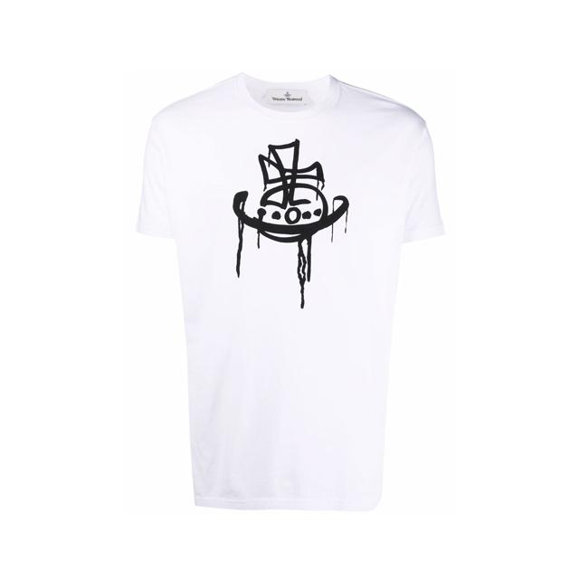 21FW 비비안웨스트우드 클래식 티셔츠 화이트 남성 37010006 J001M A401